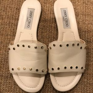 Jimmy Choo Gold Studded Slide Sandals Size 7